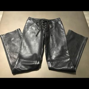 Women's Leather black leather lace up front pants